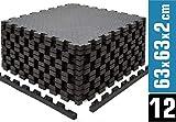 EYEPOWER 12 Bodenschutzmatten 63x63 2cm Fitness Bodenmatte - 4,8qm Schutzmatten Set mit Rand