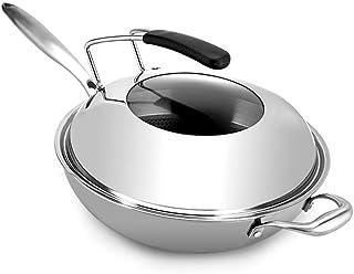 SHYOD Wok - Woks antiadhésifs et poêles à frire avec couvercle, Wok fond plat antiadhésif, moins de fumée d'huile, Wok mul...