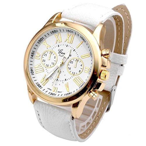 Geneva, orologio da polso alla moda, da donna, con numeri romani, in ecopelle, analogico, movimento al quarzo, one, White, 1