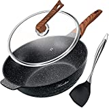Wok Pan Nonstick 12.5 Inch Skillet, Aneder Frying Pan with Lid & Spatula Wok Pans for Cooking Electric, Induction & Gas Stoves, Oven Safe
