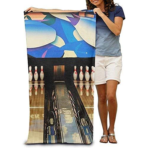 Super Saugfähige Strandtuch Bowling Court Polyester Samt Strandtücher Badetuch,130X80 cm