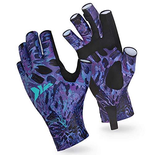 KastKing Sol Armis Sun Gloves UPF50+ Fishing Gloves UV Protection Gloves Sun Protection Gloves Men Women for Outdoor, Kayaking, Rowing (I: Purple Tang Prym1, Small-Medium)