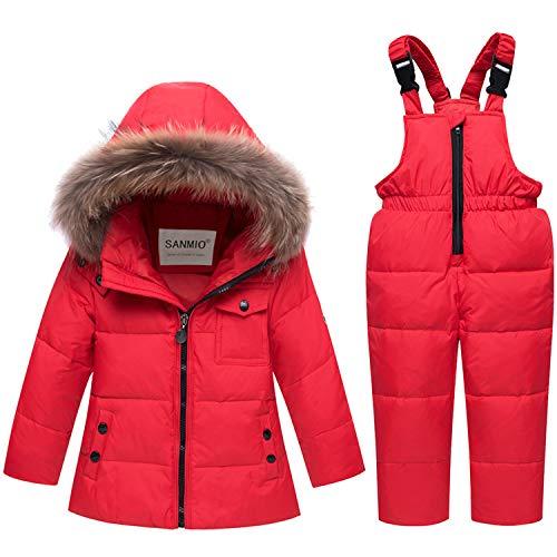 SANMIO Mädchen Jungen Daunenjacke Schneeanzug mit Künstliches Fell Kaputze Bekleidungsset Verdickte Winterjacke + Winterhose Daunenhose Kinderskianzug (Rot-01, Etikett 110(Körpergröße 96-105))