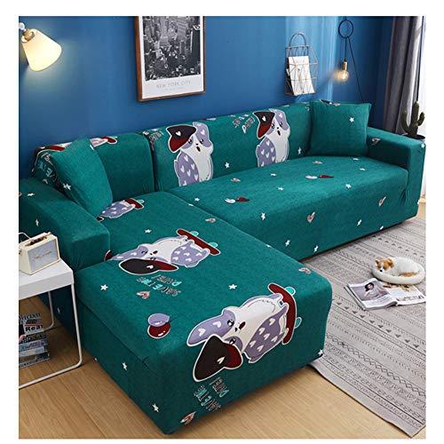 empty zeer elastisch bankstel, meubels, antislip beschermhoes van polyester spandex-stof, schattige hond met capuchon