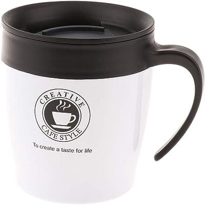 コーヒーカップ 保温マグカップ 二重壁 ステンレス スプーン付 350ミリ 全5色 - 銀