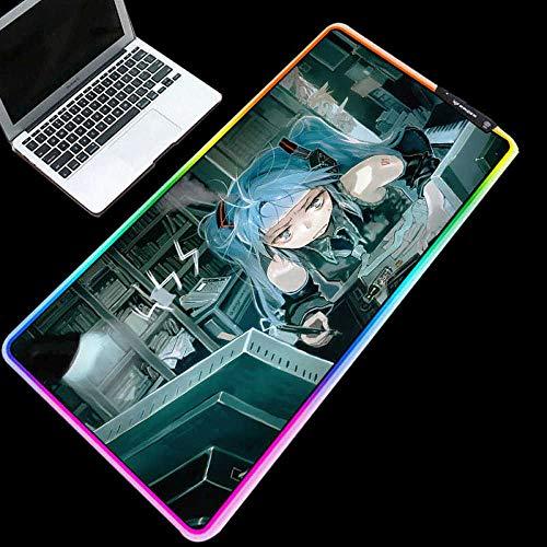 ZETIAN Luminous RGB Led-leuchten Desktop Gaming Maus Pad Kissen Computer ZubehörMauspad Notebook Pad-girl_400X900X4MM