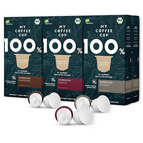 My Coffee Cup – ESPRESSO-TRIO-BOX 60 KAPSELN BIO-KAFFEE I Kaffeekapseln für Nespresso®³-Kapselmaschinen I 100% industriell kompostierbare Kaffeekapseln – 0% Alu I Nachhaltige Kaffeekapseln