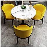 WANGQW Conjunto de Mesa de Comedor para Cocina o decoraci 1 Mesa y 3 sillas 60 cm Pequeña Mesa Redonda Postre Sala de conferencias Hotel Corridor Tienda de Ropa (Color : Yellow)
