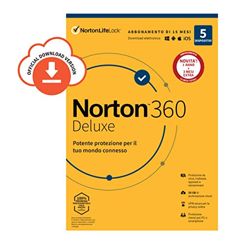 Norton 360 Deluxe 2020 |5 Dispositivi Licenza di 15 Mesi | Secure VPN e Password Manager PC, Mac, Tablet e Smartphone |  Codice d'attivazione via Email