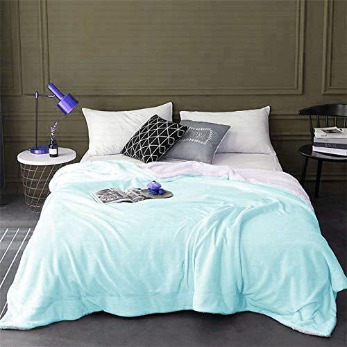 XUMINGLSJ Mantas para Sofás de Franela- Manta para Cama Reversible de 100% Microfibre Extra Suave -El 150x200cm_Azul Claro