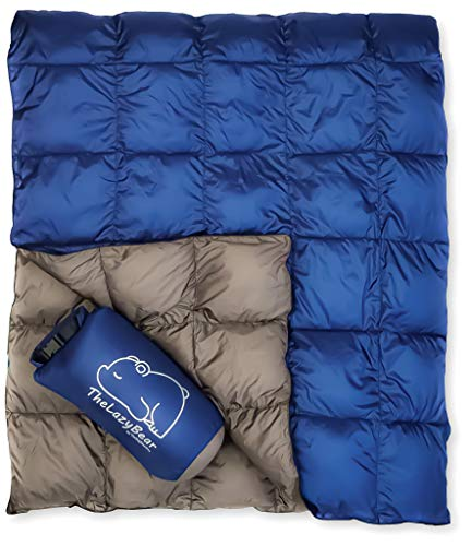 The Big Blue Mtn Lightweight Puffy Camping Blanket for Hiking Backpacking Hammock Tent Stadium Travel (Navy Gray, 78' X 52')