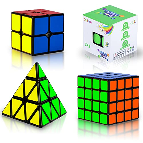 Coolzon Cube Set Magic Speed Cube Bundle 2x2 3x3 4x4 Pyraminx Pyramid, Easy Turning 3D Puzzle Cube Games Toy Gift for Kids Adults, Pack of 4