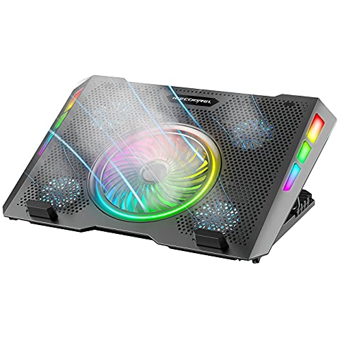 ICE COOREL Gaming Laptop Cooling Pad 15-17 inch, RGB Laptop Cooler Stand with 5 Height Adjustable, Strong Wind Laptop Fan with 5 Cooling Fans, Two USB Ports