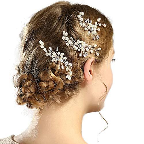 AVILMORE パール ヘアピン ヘアアクセサリー ブライダル 結婚式 ウェディング パーティー花嫁 ヘッドドレス 髪飾り (シルバー軸) 3本セット