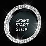 Bling Car Crystal Rhinestone Ring Emblem Sticker, Car Interior Decoration, Bling Car Accessories for Women, Push to Start Button, Key Ignition Starter & Knob Ring (Silver, 2 Row Rhinestones)