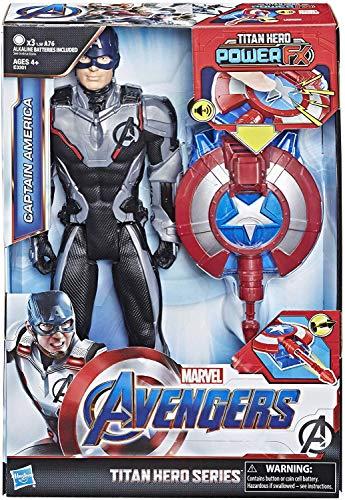 Marvel Avengers – Figurine Marvel Avengers Endgame Titan Power FX – Captain America et Power Pack - 30 cm - Parle en français - Jouet Avengers