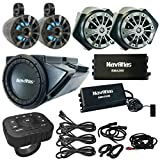 """NavAtlas 6.5"""" Powersports Speaker System w/Amp Bundle Combo with 2X 6.5 Waterproof LED Speaker Pods, 10"""" Sub w/Amp, Bluetooth Controller, 3X 10 Ft. Cables (Compatible with 2016-2020 Polaris RZRs)"""