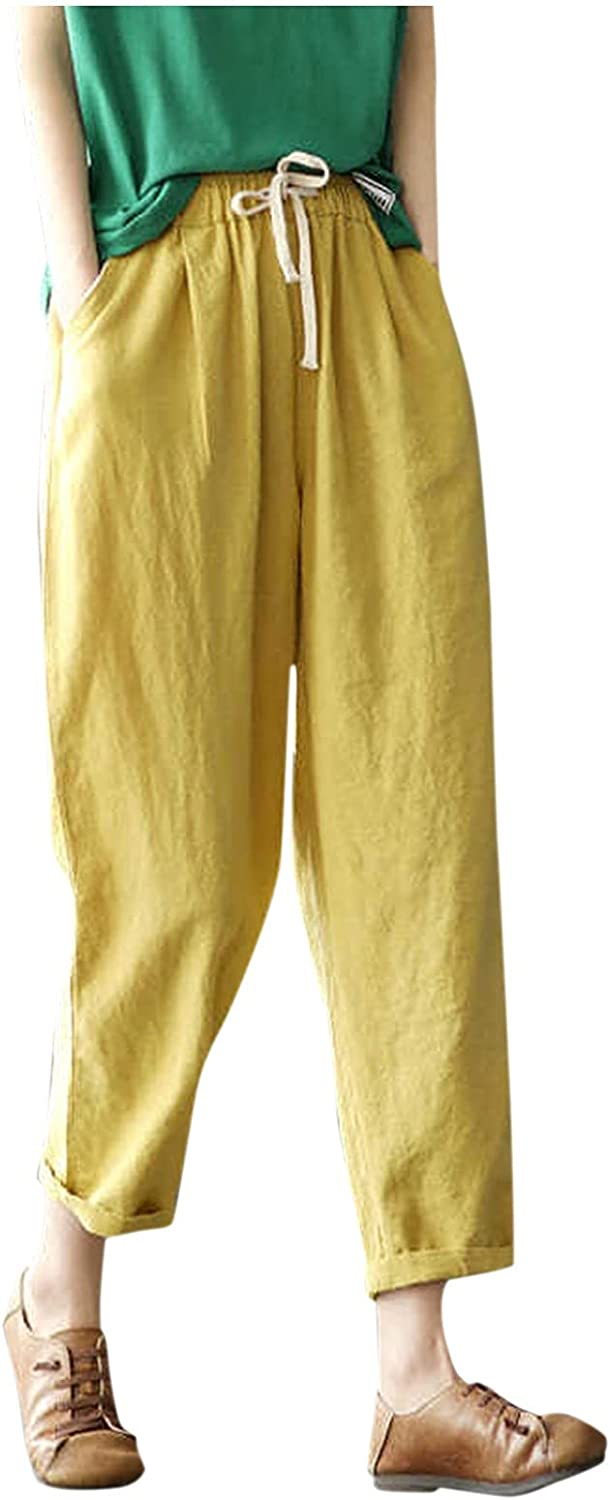 ZAKIO Summer Linen Baggy Sweatpants for Women Casual Workout Fitness Solid Drawstring Wide Leg Cropped Pant with Pockets