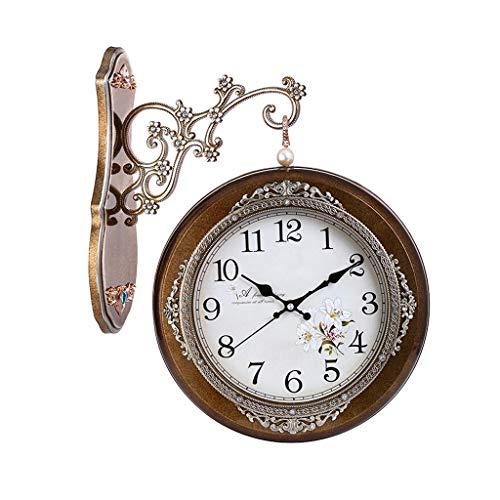 zxb-shop Reloj Reloj de Pared clásico de Lujo 360 ° Cuarzo Ultra silencioso Reloj de Pared de Doble Cara Sala de Estar Arte Decorativo Hotel (Color : A-2, Size : 40cm)