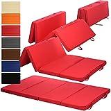 Klappmatratze Duo 195 x 120 x 7 cm komfortable Faltmatratze/Gästematratze mit Microfaserbezug bequemes Notbett/Gästebett, Farbe:Rot