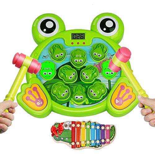 TECBOSS Interactive Whack A Frog Game, Fun Gifts Durable Pounding Early Developmental Tool, Include 2 Hanmmers and Xylophone Set