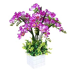 Zhuhaitf Artificial Flowers Freesia Bonsai Plants for Living Room Office Decor