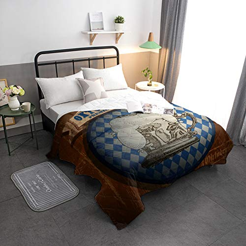 Cool Summer Bedspread Quilt Best Cold Beer Oktoberfese Pbemium All-Season Comforter Duvet Insert or Stand-Alone Comforter, Comfortable Air Conditioning Bed/Sofa Blanket for Adults Kids 98x98in