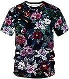 EUDOLAH Homme T-Shirt Tee Manches Courtes 3D Motif imprimé Soft été porté(XL,Fleur-1)