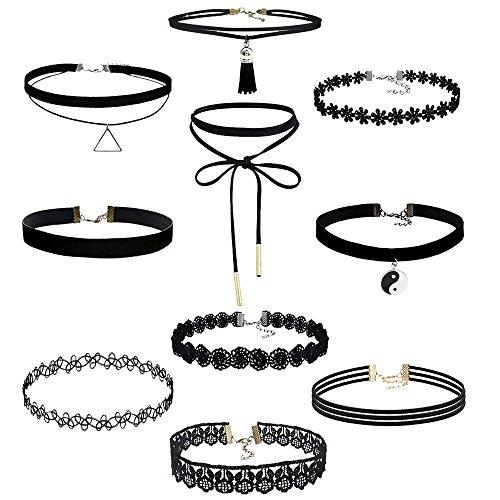 TONSEE 10 Pieces Klassische Gotische Tattoo Spitze Choker Halskette