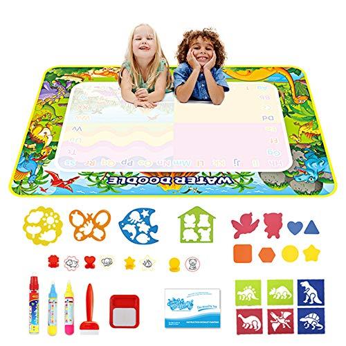 welltop Wasser Doodle Matte 120 x 70 cm, Aqua Magic Doodle Malmatte mit 3 Magic Stifte & 4 Stempelset, 14 Eva-Formen, 1 Zeichenheft, Aqua Drawing Matte für Kinder Baby Mädchen Junge