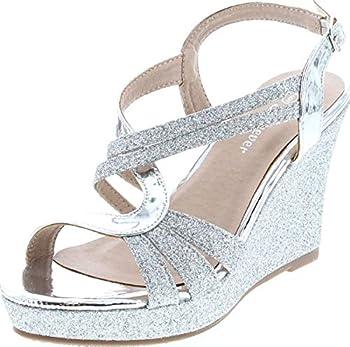Forever FQ22 Women s Glitter Strappy Wrapped Wedge Heel Platform Sandals Silver Glitter 8