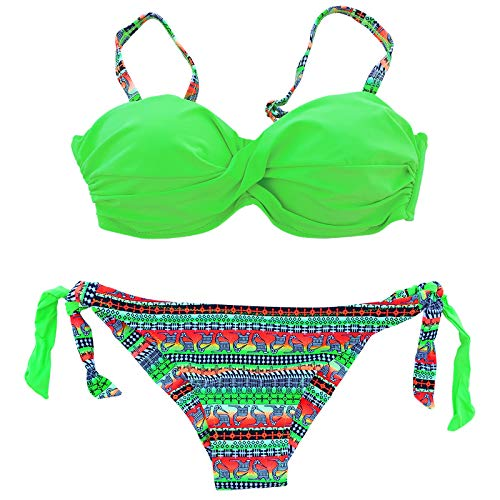 Damen Push Up Bandeau Träger Bikini Badeanzug Bademode Aztec Muster Azteken 6601 (Grün, L/40)
