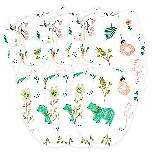 Callowesse © Baby Swaddle Wrap Manta Envolvente. Adecuado para 0-3 m (3,2kg-6,4kg), 100% pañales de algodón (3 paquetes) 190GSM / 0.5 TOG (Osos & Flores x3)