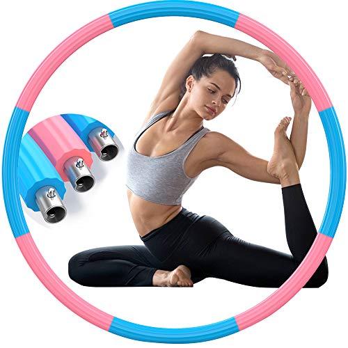 Aoweika Metall Hoola Hoop, Gewichtete Hoola Hoop Reifen Erwachsene Gewichtsreduktion 1,3 Kg, Stabil Gewicht Sport Fitness Hoola Hoop für Frauen - Blaugrün & Rosa (Patentschutz)