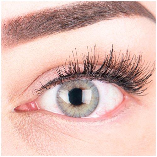 """Sehr stark deckende und natürliche graue Kontaktlinsen SILIKON COMFORT NEUHEIT farbig """"Rose Gray"""" + Behälter von GLAMLENS - 1 Paar (2 Stück) - DIA 14.00 - ohne Stärke 0.00 Dioptrien"""