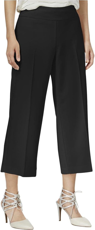 Bar III Womens Crepe Stretch Wide Leg Pants Black 12