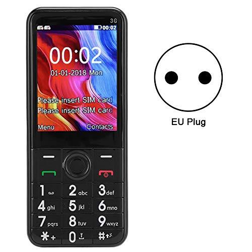 Teléfono móvil, Tarjeta SIM Dual 3G, botón Grande, teléfono Celular con Radio FM, Reproductor MP4, Bluetooth para Personas Mayores, 100-240V.(Negro)