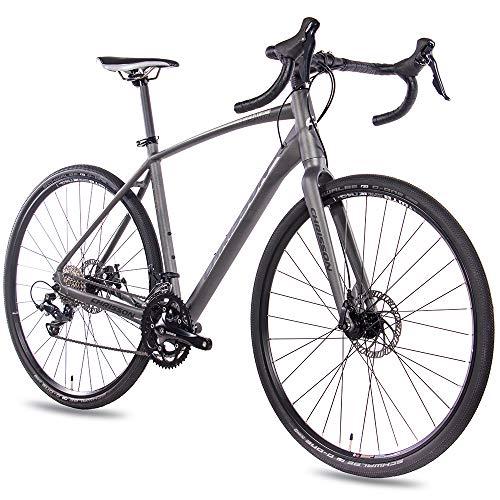 CHRISSON Gravel Bike Road One - Bicicleta de cross con 18 velocidades Shimano Sora, para hombre y mujer, tamaño 56 cm, tamaño de rueda 28.00
