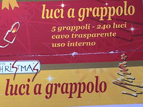DUE ESSE CHRISTMAS SRL Luci di Natale a grappolo - 5 grappoli - 240 luci - Cavo Trasparente Uso Interno