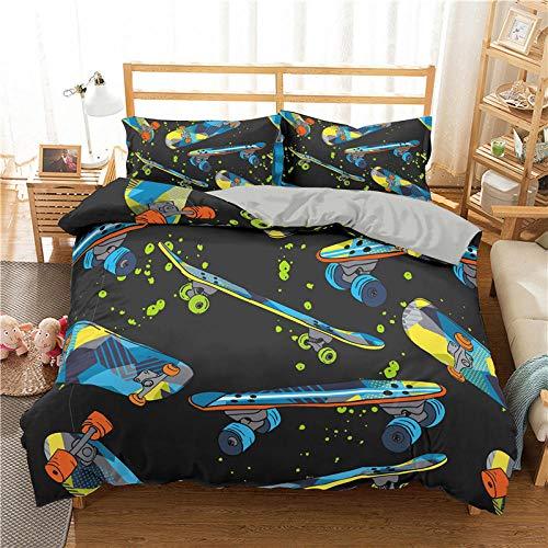 Bedclothes-Blanket Juego de sabanas Infantiles Cama 90,Cubierta de la Colcha de impresión 3D de la Scooter de Cama de Tres Piezas-3_210 * 210cm
