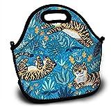 Mochila para almuerzo infantil de neopreno, diseño tropical, con divertidos tigres en color azul, con correa ajustable para el hombro