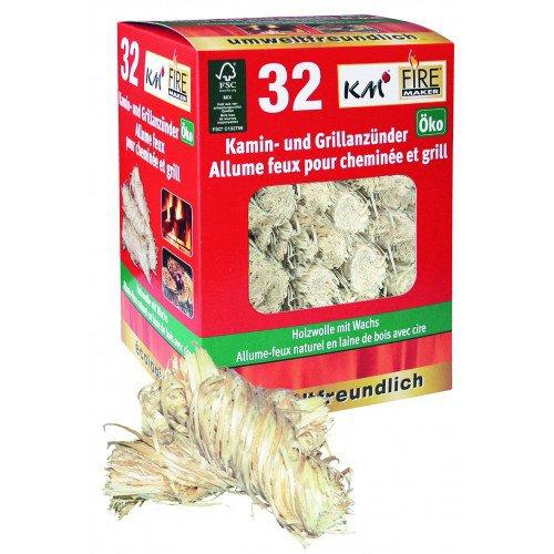 Km 12 Schachteln à 32 ökologische Grill- und Kaminanzünder aus Holzwolle mit Wachs (384 Anzünder) Testsieger Grillmagazin 1/2011 Firemaker Art. 145