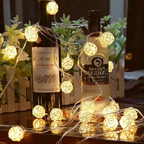 Goodia 13.8feet 40 LED Warm White Fairy Light for Indoor,Bedroom,Curtain,Patio,Lawn,Landscape,Fairy Garden,Home,Wedding,Holiday,Christmas Tree,Party Globe Rattan Ball String Lights