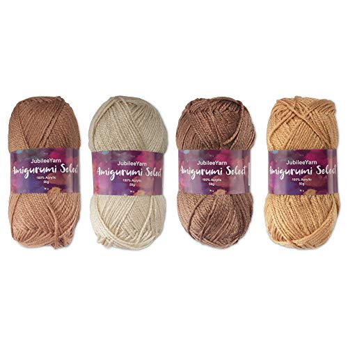 Amigurumi Select 100% Acrylic Craft Yarn - Crochet and Knitting Projects - Shades of Brown - 4 x 50g Skeins Total 500 yds.