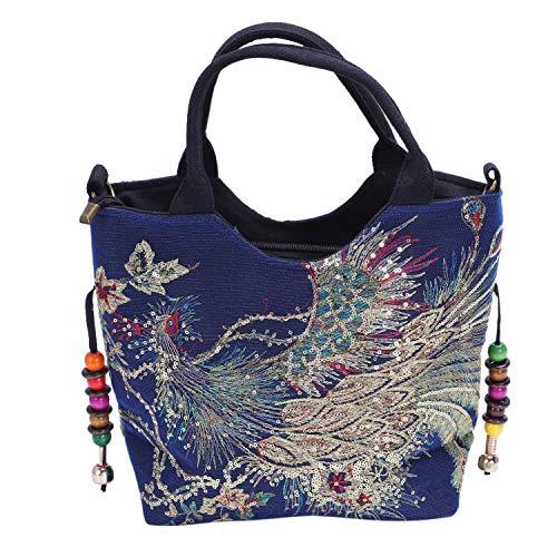 Cuasting lentejuelas brillantes pavo real bordado mujeres bolsa de lona, verano compras bolso de hombro vintage cuentas cadena bolso negro, color Azul, talla Talla Unica