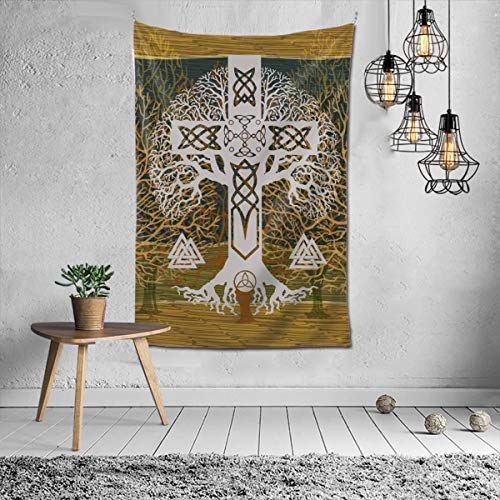 Tree of Life Yggdrasil and Celtic Cross Tapestry Wall Hanging Polyester Decor Blanket Tapestry 60'X40' for Living Room Bedroom