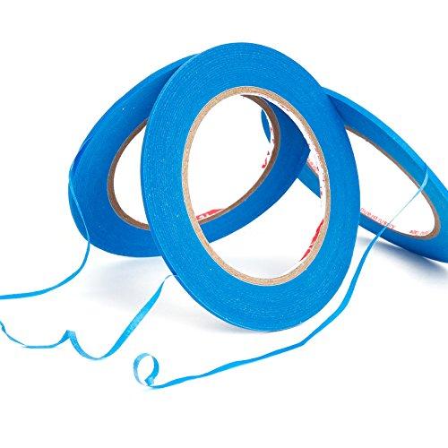 3 Rollen Zierstreifenband Zierlinienband Konturenband Farblinienband Klebeband Maler Lackierer Airbrush Masking Tape Band 3 mm x 55 m Blau fuer Auto Lackierungen Ersatz