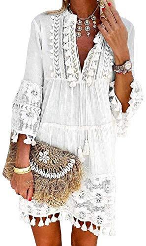Minetom Damen Kleider Strand Elegant Casual A-Linie Kleid Langarm Sommerkleider Boho V-Ausschnitt Quaste Spitze Tunika Böhmen Mini Kleider A Weiß 40