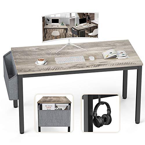 Ellenge Computer-Schreibtisch, Heimbüro, Schreibtisch, moderner Stil, PC, Laptop, Arbeitsstation, Gaming-Tisch für Home Office, mit Aufbewahrungstasche und Haken, schwarzer Metallrahmen (Olive)