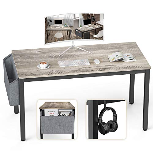 Ellenge - Scrivania per computer da 117,4 cm, in stile moderno, per PC, laptop, studio, postazione di lavoro, tavolo da gioco per casa, ufficio, con custodia e gancio, telaio in metallo nero